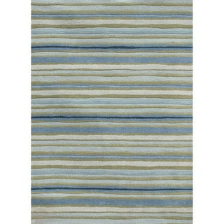 Hand-tufted Transitional Stripe Pattern Blue Rug (8' x 11')