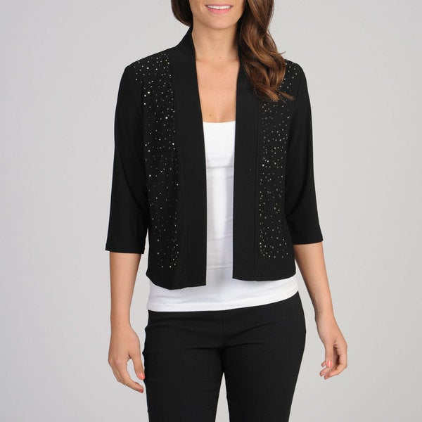 R & M Richards Womens Beaded Open Front Cardigan