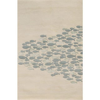 Hand-tufted Transitional Animal Print Pattern Ivory Rug (8' x 11')