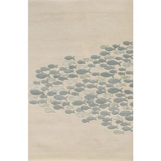 Hand-tufted Transitional Animal Print Pattern Ivory Rug (2' x 3')