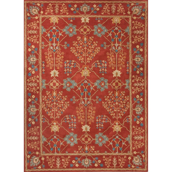 Hand-tufted Transitional arts/ Crafts Red/ Orange Rug (9'6 x 13'6)