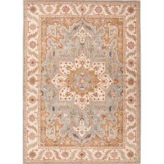 Hand-tufted Traditional Oriental Pattern Blue Rug (9'6 x 13'6)