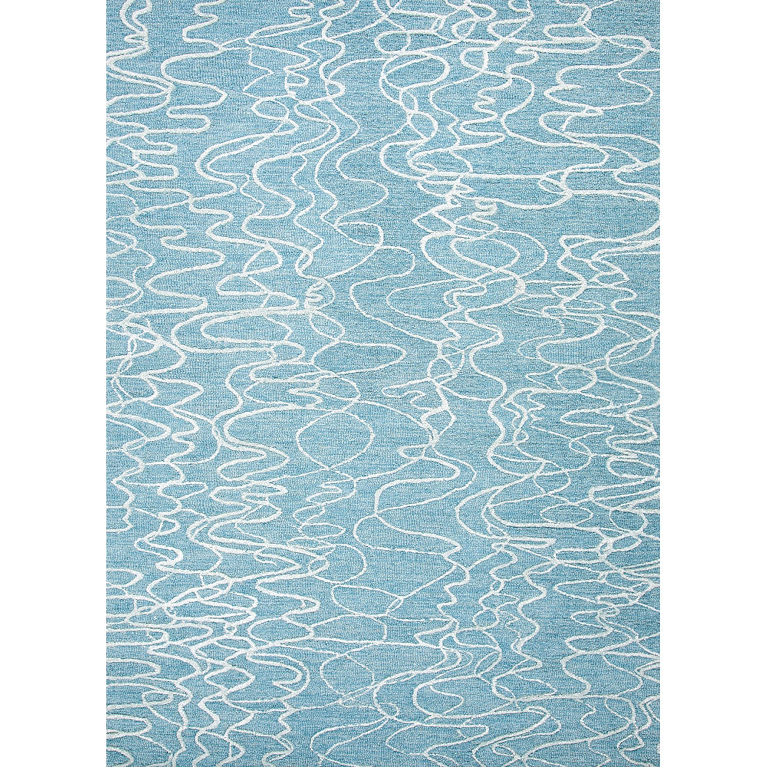Hand tufted Contemporary Abstract Pattern Blue Wool/ Art Silk Rug (36 X 56)
