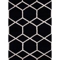 Hand-tufted Contemporary Geometric Gray/ black Rug (2' x 3')