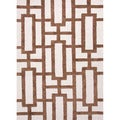 Hand-tufted Contemporary Geometric Pattern Brown/ White Rug (3'6 x 5'6)