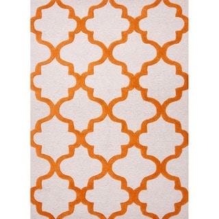 Hand-tufted Contemporary Geometric Orange/ White Rug (8' x 11')