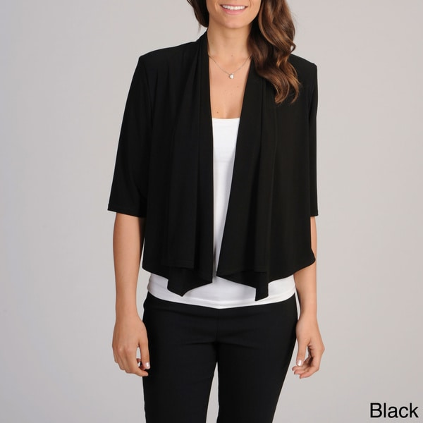 R & M Richards Womens Solid Black Shrug