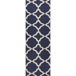 Handmade Flat Weave Geometric Pattern Reversible Blue Rug (2'6 x 8')