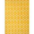 Handmade Flat-weave Geometric Pattern Yellow Wool Area Rug (8' x 10')