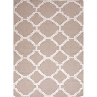 Handmade Flat Weave Geometric Pattern Brown Rug (8' x 10')