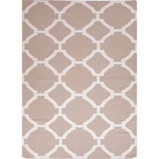Handmade Flat Weave Geometric Pattern Brown Rug (8' x 10')