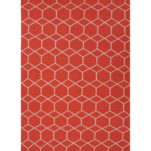 Handmade Flat-weave Geometric Pattern Red/ Orange Area Rug (8' x 10')