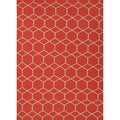 Handmade Flat Weave Geometric Pattern Red/ Orange Area Rug (5' x 8')