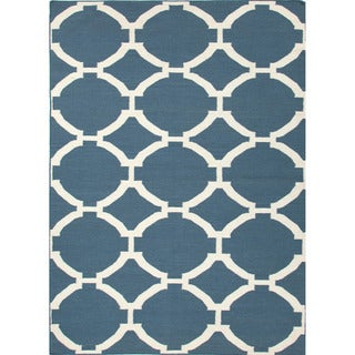 Durable Handmade Flat-weave Geometric-pattern Blue Rug (8' x 10')