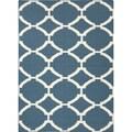 Durable Handmade Flat-weave Geometric-pattern Blue Rug (3'6 x 5'6)