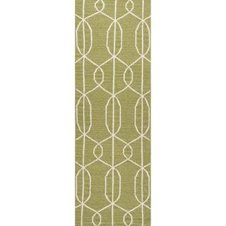 Handmade Flat Weave Geometric Pattern Green Rug (2'6 x 8')