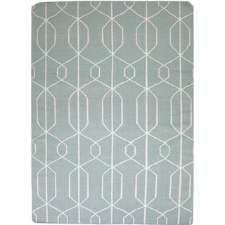 Handmade Flat Weave Geometric Pattern Blue Rug (8' x 10')