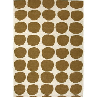 Handmade Flat Weave Geometric Pattern Green Rug (8' x 10')