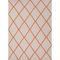 Handmade Flat Weave Geometric Pattern White/ Orange Rug (8' x 10')
