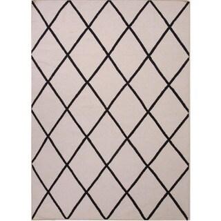 Handmade Flat Weave Geometric Gray/ Black Rug (3'6 x 5'6)