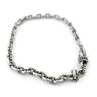 Twisted Blade Silver Beaded Oval Link Bracelet