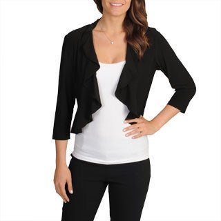 R & M Richards Women's Black Ruffle Trim Shrug