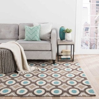 Hand-tufted Contemporary Geometric Pattern Blue Rug (7'6 x 9'6)
