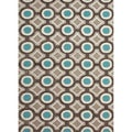 Hand-tufted Contemporary Geometric Circles-pattern Blue Rug (2' x 3')