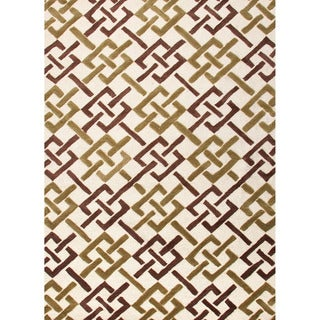 Hand-tufted Contemporary Geometric Pattern Ivory Rug (7'6 x 9'6)