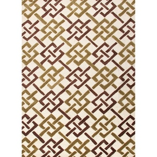Hand-tufted Contemporary Geometric Pattern Ivory Rug (5' x 7'6)