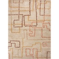 Hand-tufted Contemporary Geometric Pattern Brown Wool Rug (5' x 8')