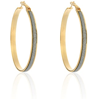 Dolce Giavonna Large Goldtone Glitter Hoop Earrings