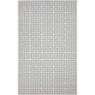 Handmade Flat-weave Geometric-pattern Blue/ Gray Rug (3'6 x 5'6)