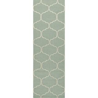 Handmade Wool Flat Weave Geometric Pattern Blue Rug (2'6 x 8')