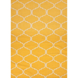 Handmade Flat-weave Geometric Pattern Yellow Area Rug (8' x 10')