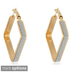 Dolce Giavonna Goldtone/ Silvertone Square Glitter Hoop Earrings