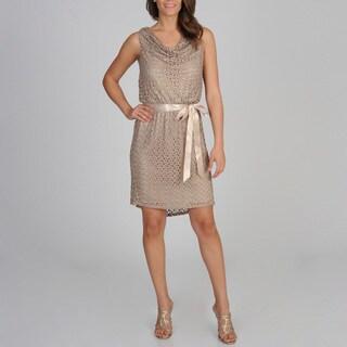 R & M Richards Women's Gold Metallic Lace Blouson Dress