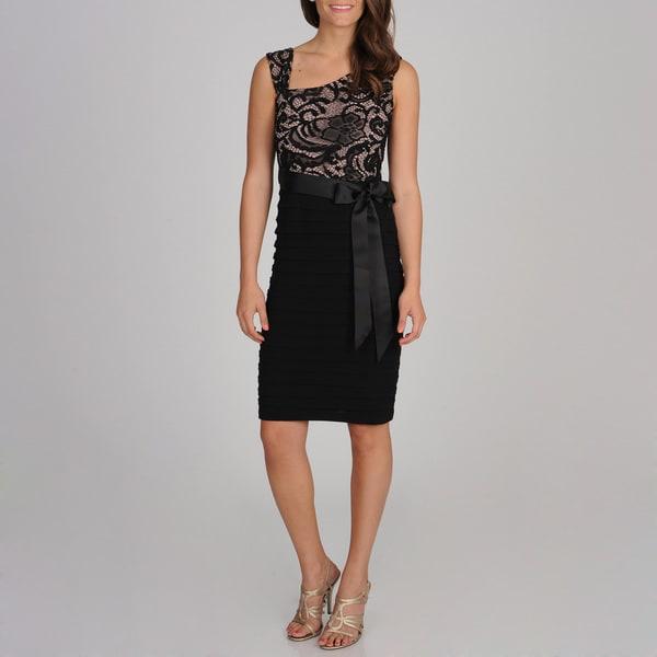 R & M Richards Women's Black Lace-inset Shutter Pleated Dress
