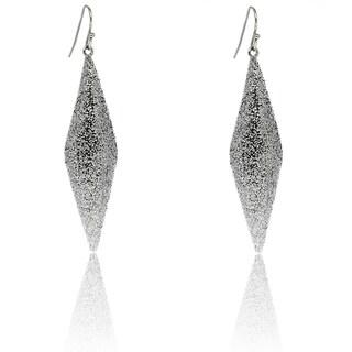 Dolce Giavonna Sterling Silver Rhombus Glitter Dangle Earrings