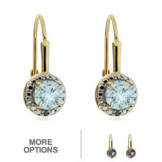 18k Gold Overlay Gemstone and Diamond Accent Earrings (I-J, I2-I3)