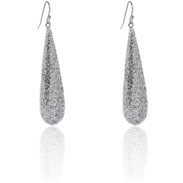 Dolce Giavonna Sterling Silver Teardrop Glitter Dangle Earrings