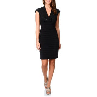 R & M Richards Women's Black Sequined Lace Shutter Pleat Dress