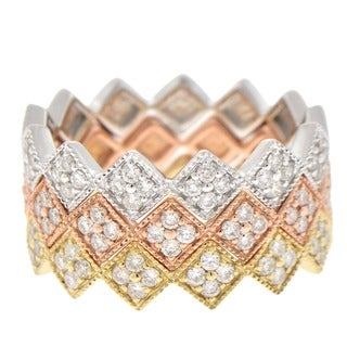 Beverly Hills Charm 14K Gold 1/4ct TDW Stackable Geometric Diamond Band Ring (H-I, SI2-I1)