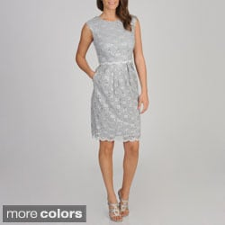 R & M Richards Women's Sleeveless Lace Sequin Dress