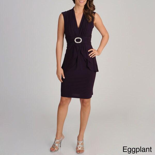 R & M Richards Women's Sleeveless Rhinestone Embellished Dress