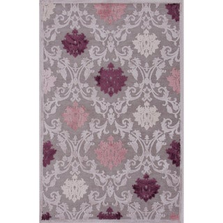 Transitional Floral Pattern Pink/ Purple Rug (2' x 3')