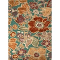 Hand-tufted Transitional Bold Floral-pattern Blue Rug (8' x 11')