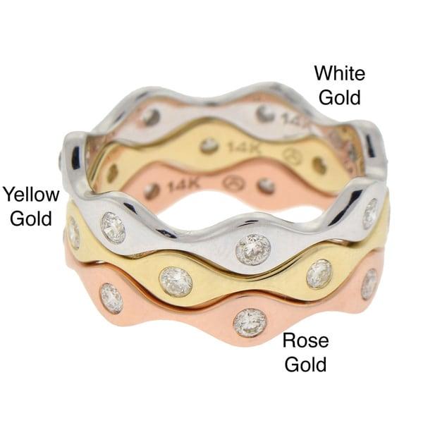 14k Gold 1/4ct TDW Stackable Diamond Wave Ring (H-I, I1)
