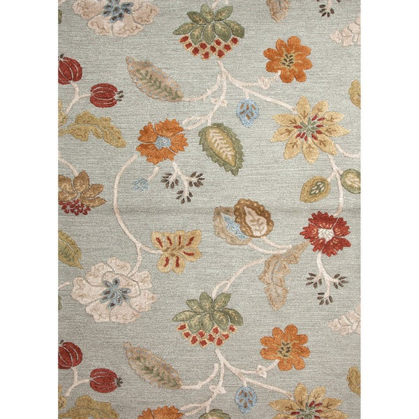 Hand Tufted Transitional Floral Pattern Blue Wool Rug 5
