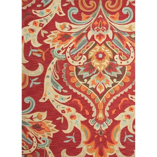 Durable Hand-tufted Transitional Floral Pattern Red/ Orange Rug (2' x 3')